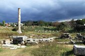 stock photo of artemis  - One column and ruins of temple of Artemis Turkey - JPG