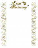 picture of 50th  - Image and Illustration composition for 50th Wedding anniversary invitation border frame or Background with copy space - JPG