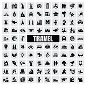 foto of statue liberty  - vector black travel and landmarks icons set - JPG