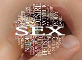 stock photo of obscene  - Sex cloud concept with a sex background - JPG