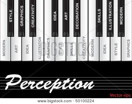 Vector eps concept or conceptual white perception text piano keys word cloud or tagcloud isolated on black background