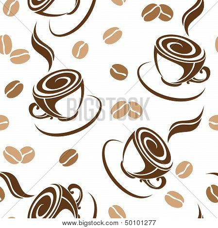Seamless background with coffee beans and cups. Vector illustration.