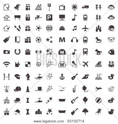 Vector Icons Of Games And Entertainment