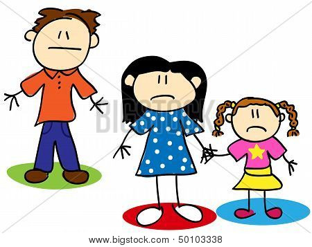 Stick Figure Unhappy Family