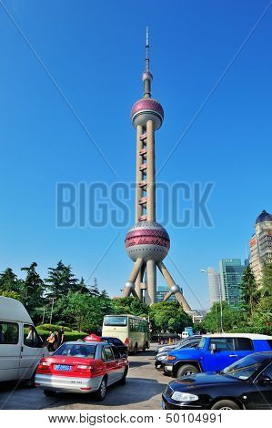 SHANGHAI, CHINA - MAY 28: Oriental Pearl Tower closeup on May 28, 2012 in Shanghai, China. The tower was the tallest structure in China excluding Taiwan from 1994-2007 and the landmark of Shanghai.