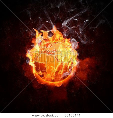 Image of burning globe in fire flames. Earth in danger