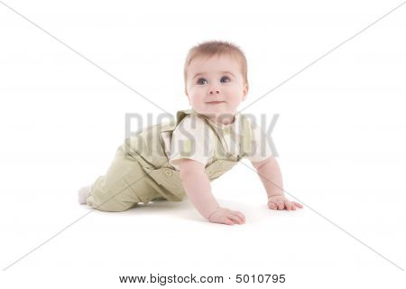 Portrait Of Adorable Blue-eyes Baby Lying Down