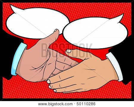 Vintage Style Comic book Handshake with Speech Bubbles