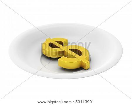 3D Render Of Golden Dollar On Plate On White Background