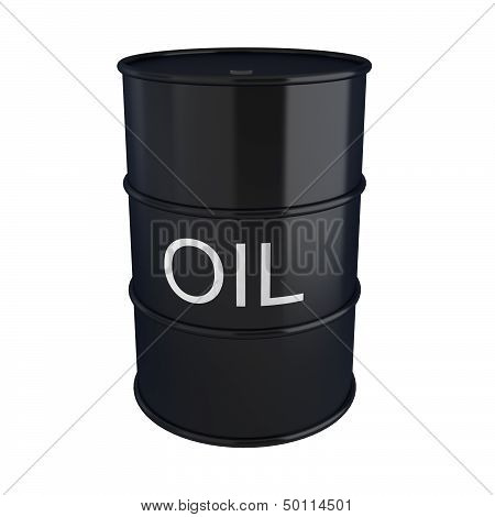 3D Render Of Black Oil Barrel On White