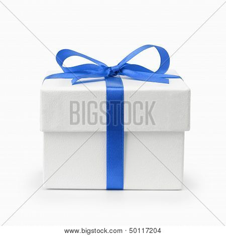 White Textured Gift Box With Blue Ribbon Bow