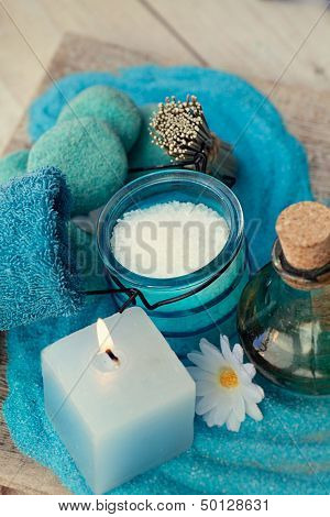 Spa Setting With Bath Salt