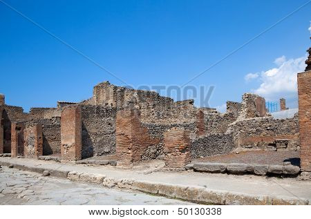 Ancient Roman City Of Pompeii, Which Was Destroyed And Buried By Ash During The Eruption Of Mount Ve