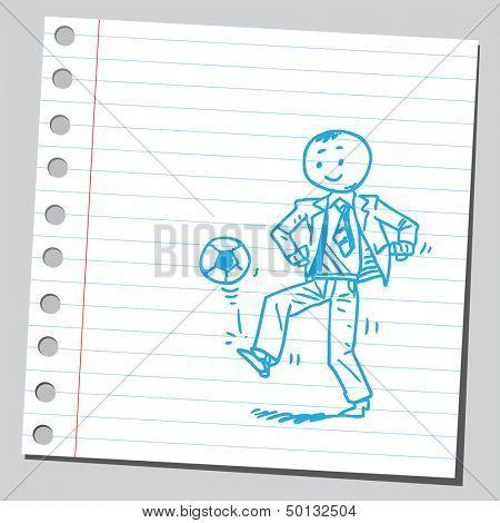 Businessman juggling soccer ball
