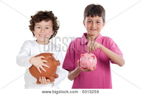 Two Happy Children With Moneybox Savings