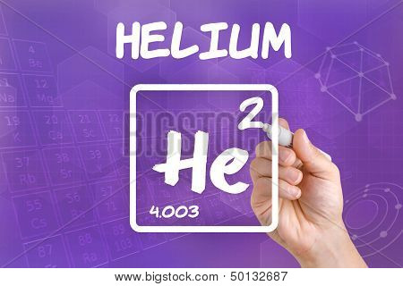 Hand drawing the symbol for the chemical element helium