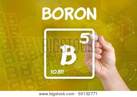 Hand drawing the symbol for the chemical element boron