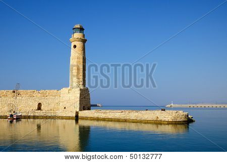 Old Venetian Lighthouse In City Of Rethymno, Crete, Greece