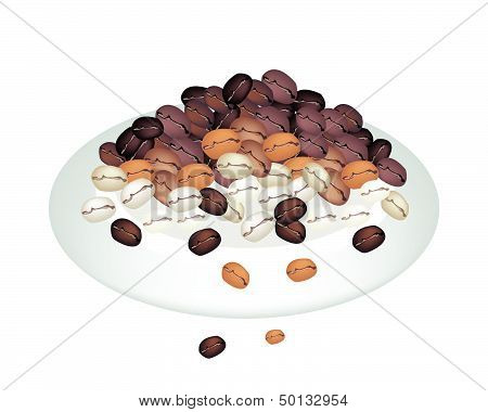 Different Colors Of Coffee Beans Stack On White Plate