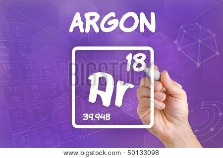 Hand drawing the symbol for the chemical element argon