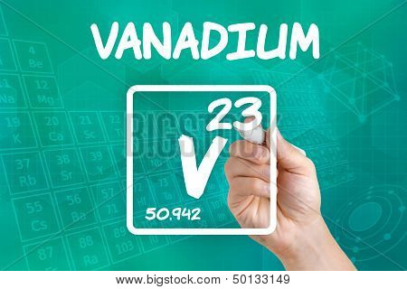 Hand drawing the symbol for the chemical element Vanadium