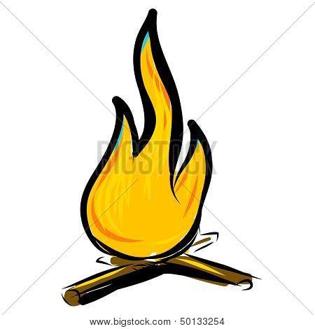 Bonfire simple cartoon doodle image