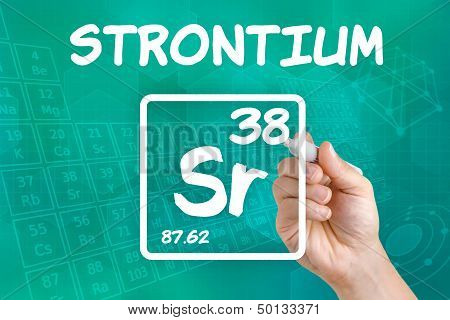 Hand drawing the symbol for the chemical element strontium