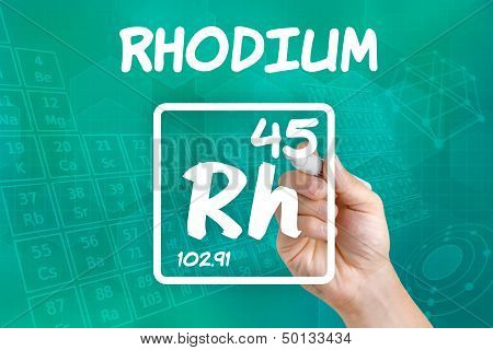 Hand drawing the symbol for the chemical element rhodium
