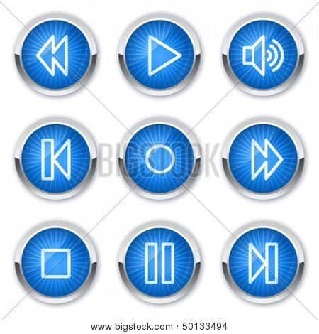 Walkman web icons, blue buttons