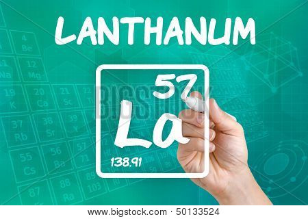 Hand drawing the symbol for the chemical element lanthanum