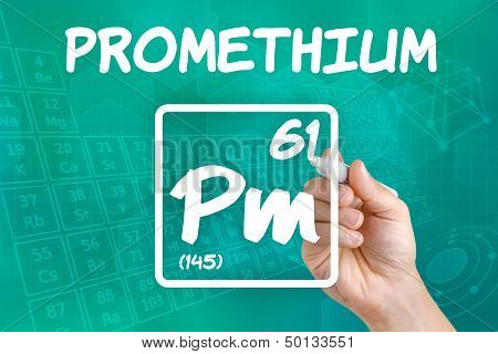 Hand drawing the symbol for the chemical element promethium