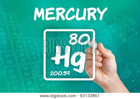 Hand drawing the symbol for the chemical element mercury
