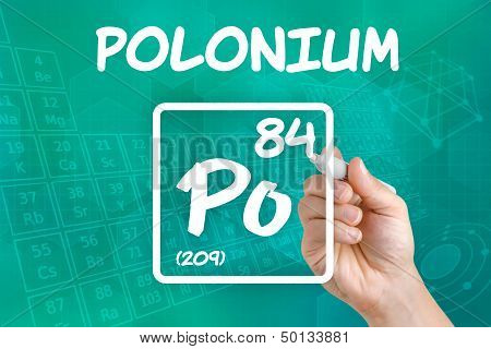 Hand drawing the symbol for the chemical element polonium
