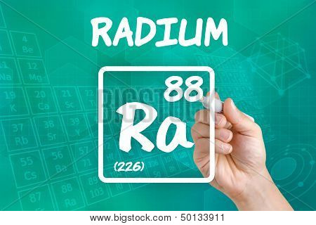 Hand drawing the symbol for the chemical element radium