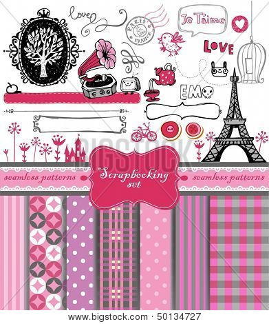 Doodle vintage objects - scrapbook collection.  7 seamless backgrounds. vector illustration