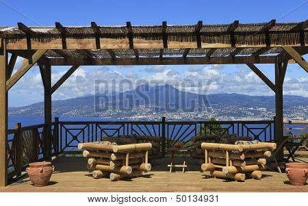 Terrace over the Bay of Fort de France, Martinique island