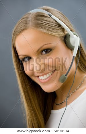 Operator Talking On Headset