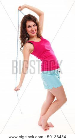 Young Sporty Fit Woman With Measure Tape