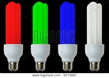 Rgb Fluorescent Light Bulbs Isolated