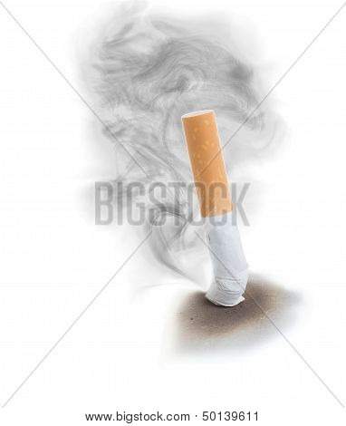 Extinguised Cigarette With Smoke Cloud.
