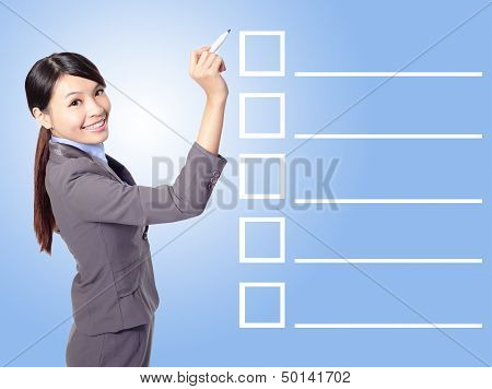 Business Woman Filling Check List