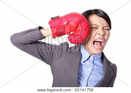 Businesswoman Knock Down Itself