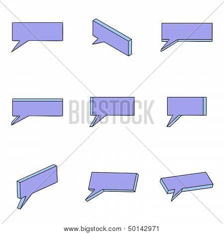 Nine 3D Purple-blue Clouds