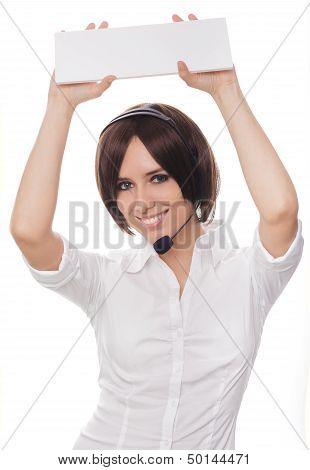 Call Center Girl Holding Card