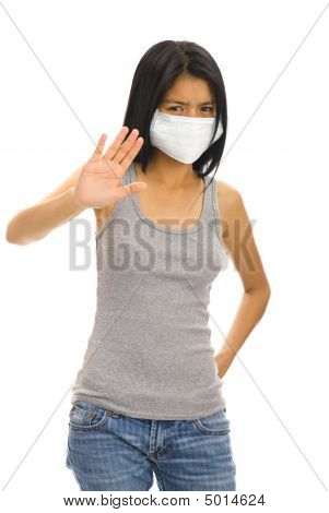 Asian Woman With A Protective Face Mask