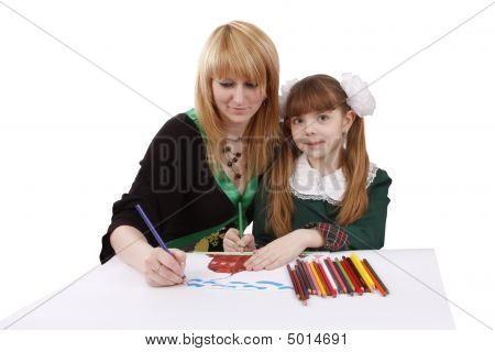 Mother And Child Painting Together.