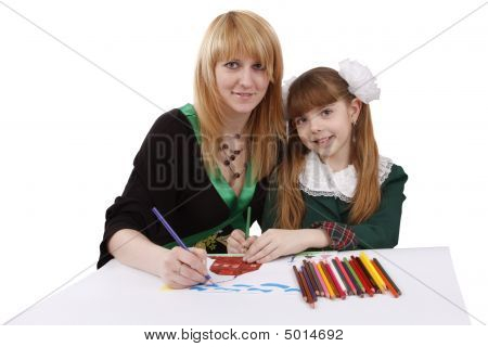 Mother And Daughter Is Drawing The Picture.