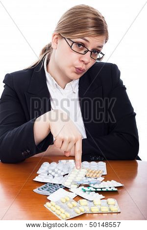 Woman Pointing At Pills