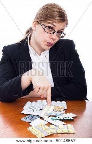 Woman Pointing At Pills