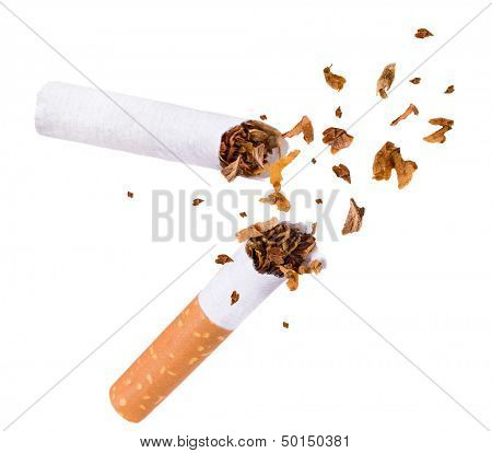 Quit smoking, breaking the cigarette over white